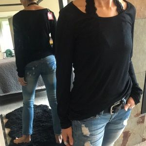 Black long sleeve ribbed T-shirt